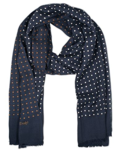 Drake's Classic Spot Wool/Silk Print Scarf Navy  i gruppen Accessoarer / Scarves hos Care of Carl (13077910)