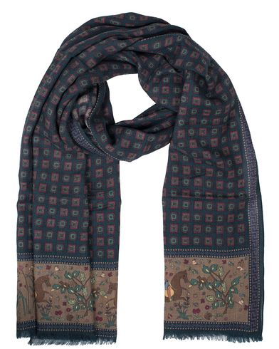 Drake's Horse and Medallion Print Scarf Dark Blue  i gruppen Accessoarer / Scarves hos Care of Carl (13078010)