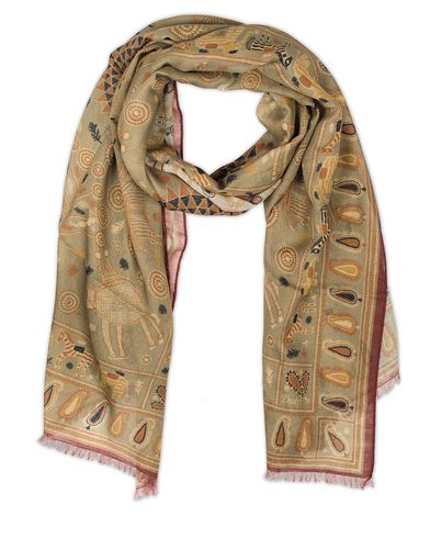 Drake's Embroidered Animal Print Scarf Light Green  i gruppen Design A / Assesoarer / Scarves hos Care of Carl (13078310)