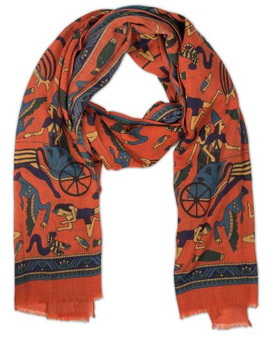 Drake's Egyptian Print Wool Scarf Orange  i gruppen Accessoarer / Scarves hos Care of Carl (13078410)