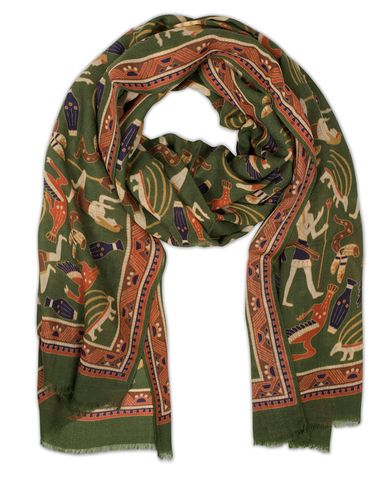 Drake's Egyptian Print Wool Scarf Green  i gruppen Design A / Accessoarer / Scarves hos Care of Carl (13078510)