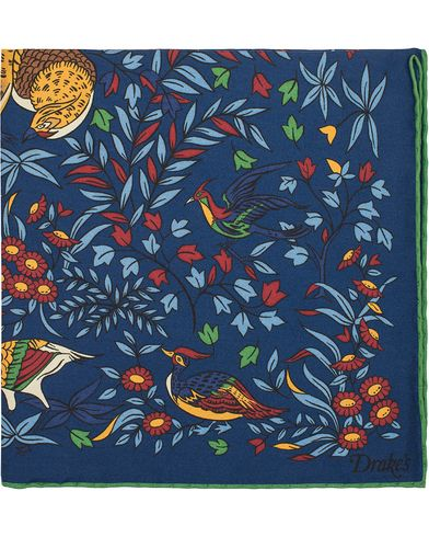 Drake's Bird of Paradise Silk Pocket Square Blue  i gruppen Assesoarer / Lommetørklær hos Care of Carl (13079810)