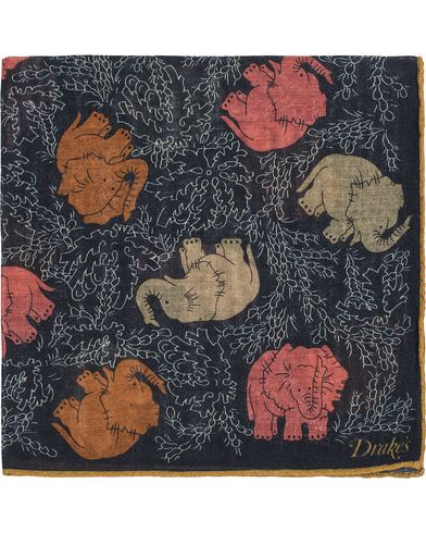Drake's Abstract Elephant Pocket Square Navy  i gruppen Accessoarer / Näsdukar hos Care of Carl (13079910)
