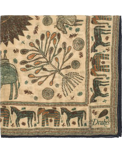Drake's Embroided Animal Print Pocket Square Beige  i gruppen Assesoarer / Lommetørklær hos Care of Carl (13080110)