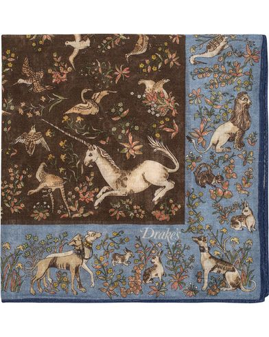 Drake's Unicorn Pocket Square Blue/Brown  i gruppen Assesoarer / Lommetørklær hos Care of Carl (13080210)