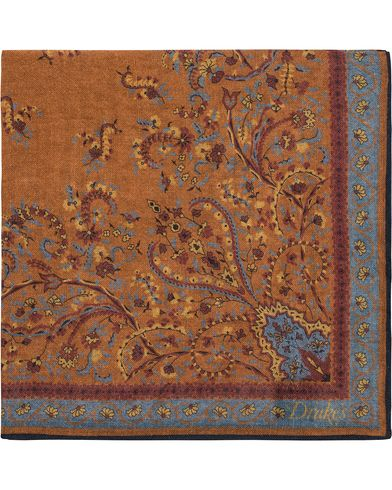 Drake's Victorian Garden Print Pocket Square Orange  i gruppen Assesoarer / Lommetørklær hos Care of Carl (13080510)