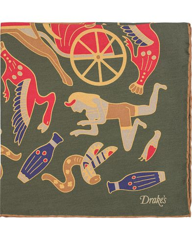 Drake's Egyptian Print Silk Pocket Square Green  i gruppen Accessoarer / Näsdukar hos Care of Carl (13081010)