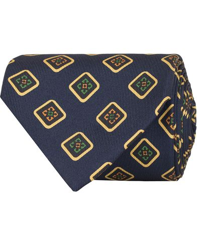 Drake's Medallion Silk 8 cm Tie Navy  i gruppen Assesoarer / Slips hos Care of Carl (13081410)