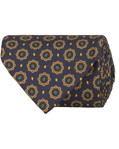 Drake's Pattern Silk 8 cm Tie Navy  i gruppen Assesoarer / Slips hos Care of Carl (13081610)