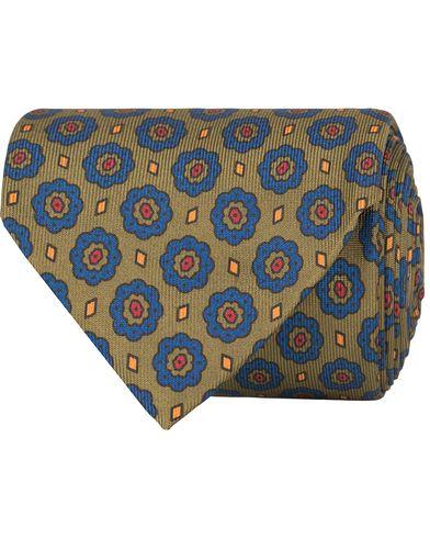 Drake's Pattern Silk 8 cm Tie Green  i gruppen Assesoarer / Slips hos Care of Carl (13081710)