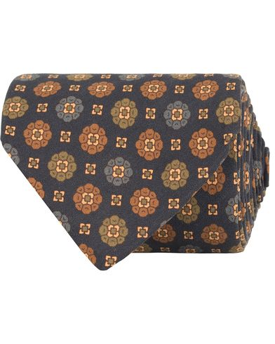 Drake's Floral Silk 8 cm Tie Navy  i gruppen Accessoarer / Slipsar hos Care of Carl (13081910)