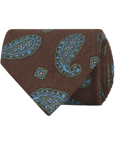 Drake's Paisley Wool 8 cm Tie Dark Brown  i gruppen Assesoarer / Slips hos Care of Carl (13082410)