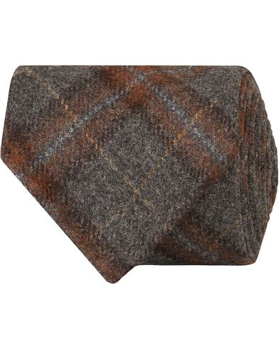 Drake's Check Wool/Cashmere 8 cm Tie Grey  i gruppen Accessoarer / Slipsar hos Care of Carl (13082610)