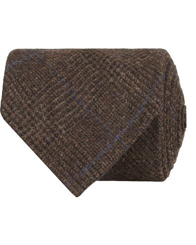 Drake's Prince of Wales Wool/Cashmere 8 cm Tie Brown  i gruppen Accessoarer / Slipsar hos Care of Carl (13082710)