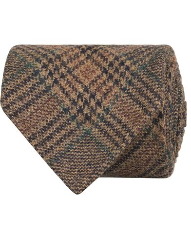 Drake's Prince of Wales Wool/Cashmere 8 cm Tie Brown  i gruppen Assesoarer / Slips hos Care of Carl (13082810)