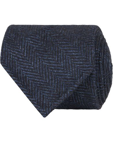 Drake's Herringbone Wool 8 cm Tie Navy  i gruppen Assesoarer / Slips hos Care of Carl (13082910)