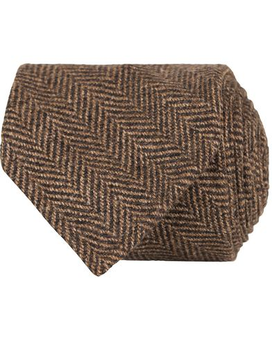 Drake's Herringbone Wool 8 cm Tie Brown  i gruppen Assesoarer / Slips hos Care of Carl (13083010)