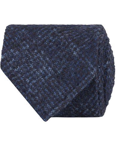 Drake's Tonal Prince of Wales Alpaca/Wool 8 cm Tie Navy  i gruppen Accessoarer / Slipsar hos Care of Carl (13083110)