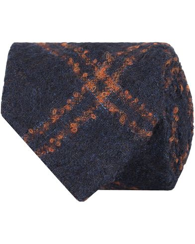 Drake's Bouclé Alpaca/Wool 8 cm Tie Navy/Orange  i gruppen Assesoarer / Slips hos Care of Carl (13083210)