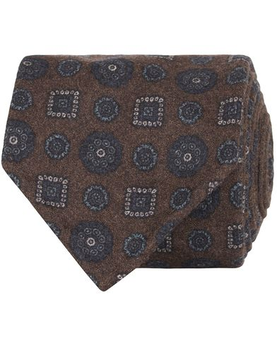 Drake's Medallion Wool/Flannel 8 cm Tie Brown  i gruppen Assesoarer / Slips hos Care of Carl (13083310)
