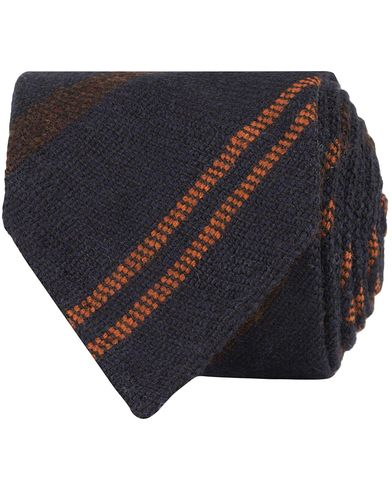 Drake's Stripe Wool 8 cm Tie Navy/Rust  i gruppen Assesoarer / Slips hos Care of Carl (13084210)
