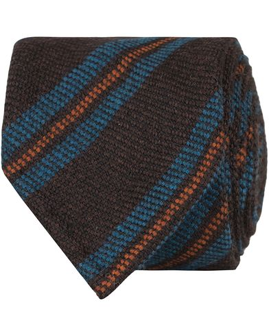 Drake's Block Stripe Wool 8 cm Tie Brown/Petrol  i gruppen Assesoarer / Slips hos Care of Carl (13084310)