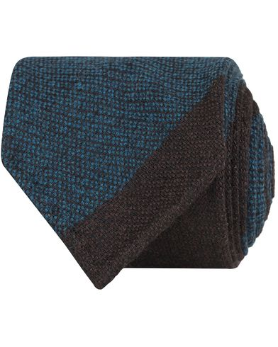 Drake's Stripe Wool 8 cm Tie Brown/Petrol  i gruppen Accessoarer / Slipsar hos Care of Carl (13084410)