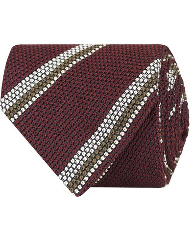 Drake's Stripe Silk 8 cm Tie Burgundy  i gruppen Assesoarer / Slips hos Care of Carl (13084910)