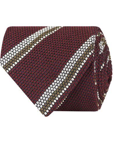 Drake's Stripe Silk 8 cm Tie Burgundy  i gruppen Accessoarer / Slipsar hos Care of Carl (13084910)