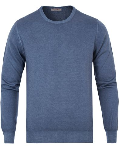 Gran Sasso Merino Vintage Fashion Fit C-Neck Pullover Blue i gruppen Tr�jor / Pullover / Pullover Rundhals hos Care of Carl (13087411r)