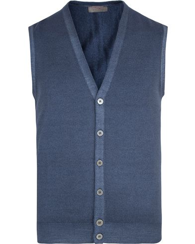Gran Sasso Merino Vintage Fashion Fit Gilet Blue i gruppen Tr�jor / Slipover hos Care of Carl (13087511r)