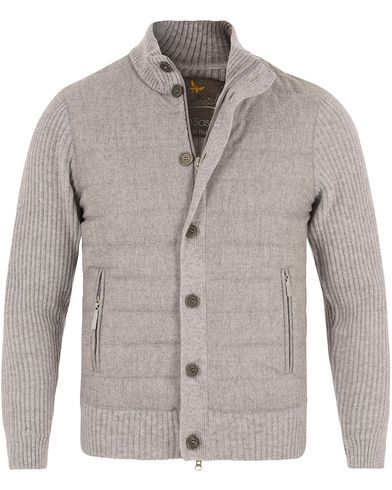 Gran Sasso Wool Button Knit/Zip Cardigan Jacket Grey i gruppen Klær / Gensere / Cardigans hos Care of Carl (13088011r)