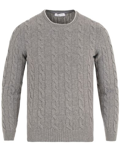 Gran Sasso Wool/Cashmere Knitted Cable Pullover Light Grey i gruppen Gensere / Strikkede gensere hos Care of Carl (13088111r)