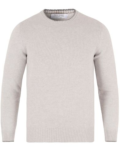 Gran Sasso Wool/Cashmere Elbow Patch Pullover Light Grey i gruppen Tröjor / Stickade tröjor hos Care of Carl (13088211r)