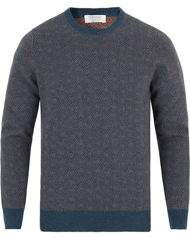 Gran Sasso Cashmere Structure C-Neck Pullover Brown/Blue i gruppen Tr�jor / Pullover / Pullover Rundhals hos Care of Carl (13088411r)