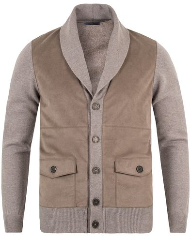 Gran Sasso Wool/Cashmere Patch Pocket Cardigan Grey/Brown Suede i gruppen Gensere / Cardigans hos Care of Carl (13088511r)