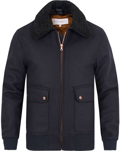 Private White V.C. Pilot's Bomber Wool Jacket Navy i gruppen Jakker / Bomberjakker hos Care of Carl (13089111r)
