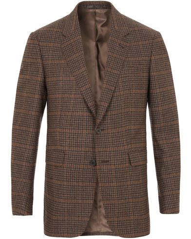 Gieves & Hawkes Notch Mini Check Blazer Brown i gruppen Kavajer / Enkelknäppta kavajer hos Care of Carl (13090511r)
