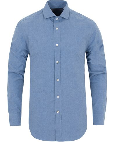 Gieves & Hawkes Tailored Fit Flannel Shirt Medium Blue i gruppen Skjorter / Flanellskjorter hos Care of Carl (13090611r)