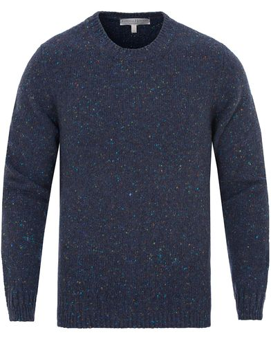 Gieves & Hawkes Donegal Crew Neck Sweater Navy i gruppen Klær / Gensere / Strikkede gensere hos Care of Carl (13090711r)