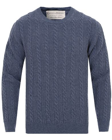 Gieves & Hawkes Cable Knit Wool/Cashmere Sweater Blue Melange i gruppen Tröjor / Stickade tröjor hos Care of Carl (13091011r)