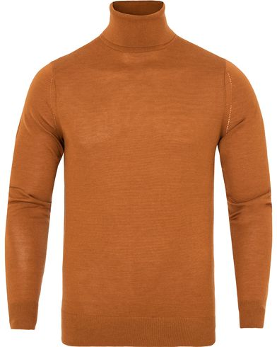 Gieves & Hawkes Cashmere/Silk/Wool-Blend Roll Neck Dark Orange i gruppen Tr�jor / Polotr�jor hos Care of Carl (13091111r)