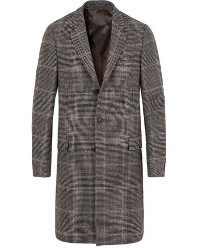 Gieves & Hawkes Lesser Houndstooth Wool Coat Brown i gruppen Jakker / Vinterjakker hos Care of Carl (13091311r)