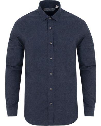 Gieves & Hawkes Flannel Tailored Fit Shirt Navy i gruppen Skjortor / Flanellskjortor hos Care of Carl (13092911r)