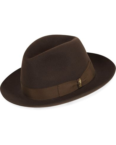 Borsalino Fedora Felt Hat Medium Brim Folco Dark Brown i gruppen Assesoarer / Hatter hos Care of Carl (13093111r)