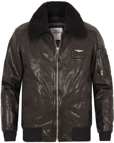 Aeronautica PN890 Giubbino Leather Jacket Black i gruppen Jackor / Skinnjackor hos Care of Carl (13094511r)