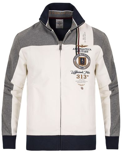 Aeronautica FE1122 Felpa Full Zip White/Grey i gruppen Gensere / Zip-gensere hos Care of Carl (13094611r)