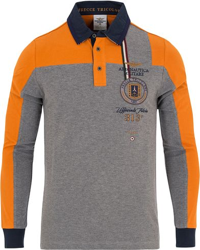 Aeronautica PO1040 Long Sleeve Polo Grey/Orange i gruppen Kläder / Pikéer / Långärmade pikéer hos Care of Carl (13095411r)