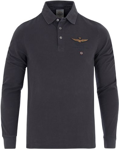 Aeronautica PO1021 Long Sleeve Polo Black Carbon i gruppen Pikéer / Långärmade pikéer hos Care of Carl (13095611r)