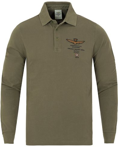 Aeronautica PO1021 Long Sleeve Polo Army Green i gruppen Pik�er / L�ng�rmad Pik� hos Care of Carl (13095711r)